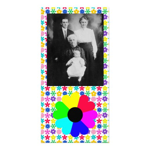 Crazy Bright Flower Photo Card