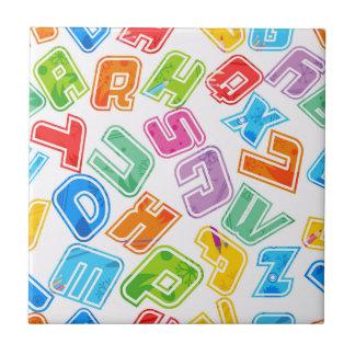 Crazy Bright Fun Letters Tile