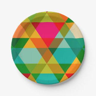 Crazy Bright Triangle Design Paper Plate