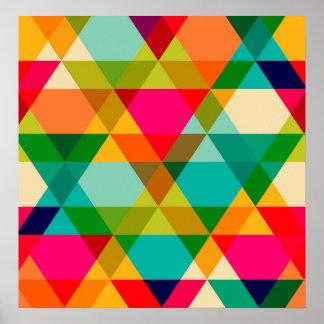 Crazy Bright Triangle Design Posters