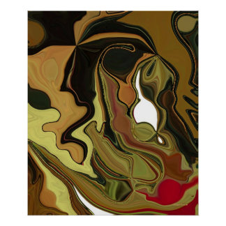 Crazy Brown Mix Abstract Painting Poster
