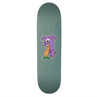 """Crazy Bunny Creature with Carrot"" Skateboard"