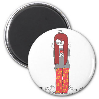 CRAZY BUNNY LADY 2 INCH ROUND MAGNET