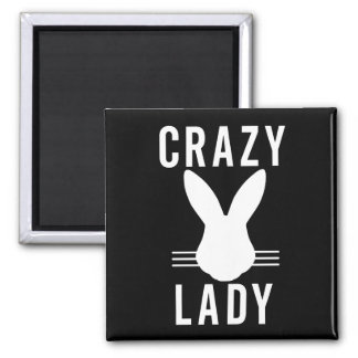 CRAZY BUNNY LADY 2 INCH SQUARE MAGNET