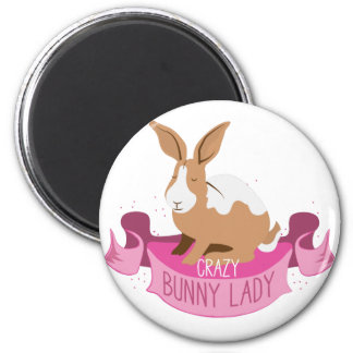 crazy bunny lady banner magnet
