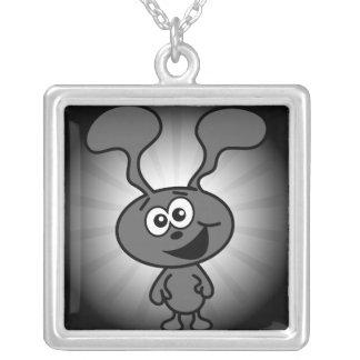 Crazy Bunny Square Pendant Necklace