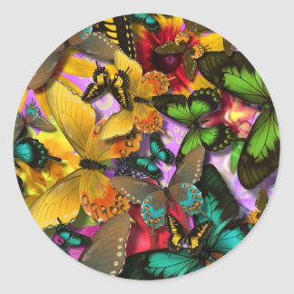 Crazy Butterflies Classic Round Sticker