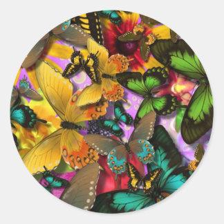 Crazy Butterflies Round Sticker