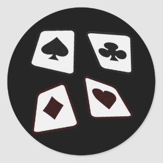Crazy Cards - Black White & Red Classic Round Sticker