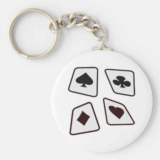Crazy Cards - Black White & Red Basic Round Button Keychain