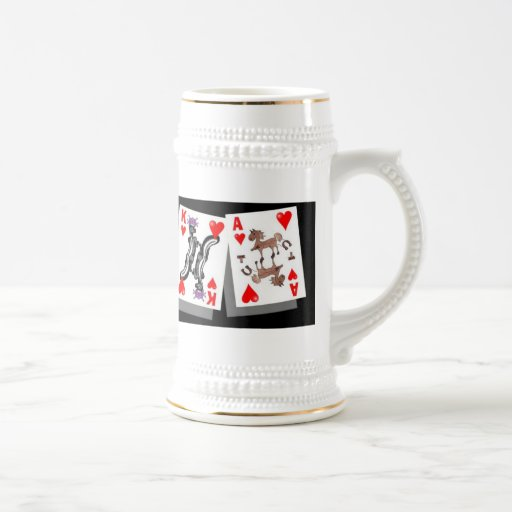 crazy cards poker stein coffee mugs