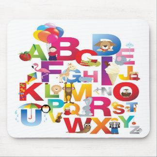 crazy cartoon alphabet mousepad