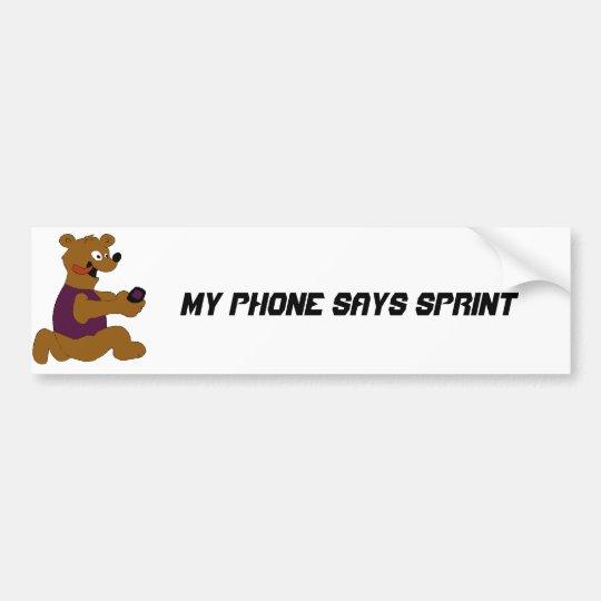 Crazy Cartoon Bear With Cell Phone Bumper Sticker