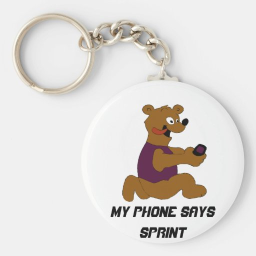 Crazy Cartoon Bear With Cell Phone Keychain