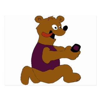 Crazy Cartoon Bear With Cell Phone Postcard
