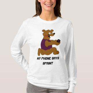Crazy Cartoon Bear With Cell Phone T-Shirt