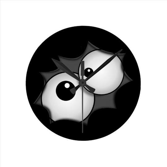 Crazy cartoon eyes round clock