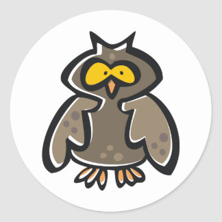 Crazy Cartoon Owl Classic Round Sticker