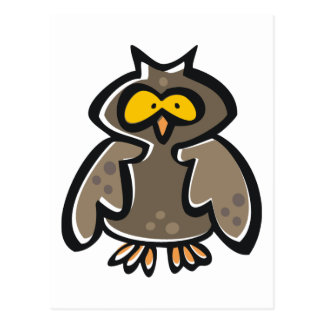 Crazy Cartoon Owl Postcard