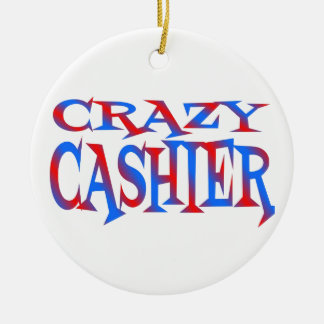 Crazy Cashier Double-Sided Ceramic Round Christmas Ornament