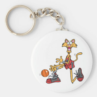 Crazy-Cat-and-Basketball Basic Round Button Keychain
