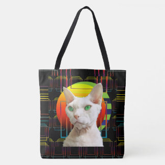 Crazy Cat Design White Devon Rex Casper on Black Tote Bag