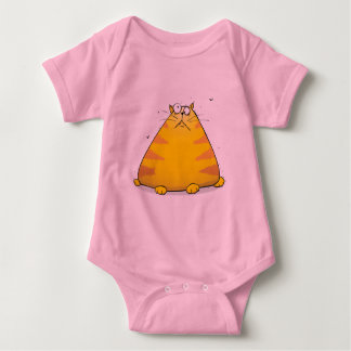 Crazy Cat Funny Pink Baby Girls Creeper Bodysuit