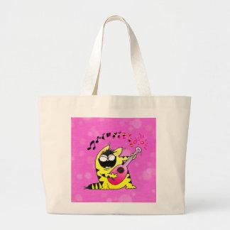 Crazy Cat Guitarist Canvas Bag