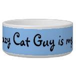 Crazy Cat Guy Bowl--Blue Background Pet Water Bowl