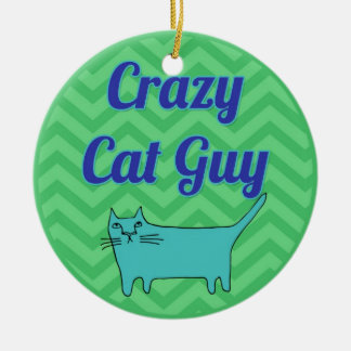 Crazy Cat Guy Ornament in green and blue chevron