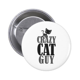 Crazy Cat Guy Pinback Button