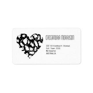 Crazy Cat Heart Address Labels