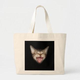 Crazy Cat Kitten Face Large Tote Bag