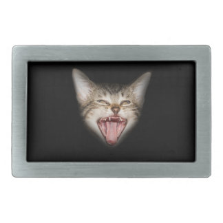 Crazy Cat Kitten Face Rectangular Belt Buckle