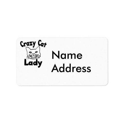 crazy cat lady address label zazzle