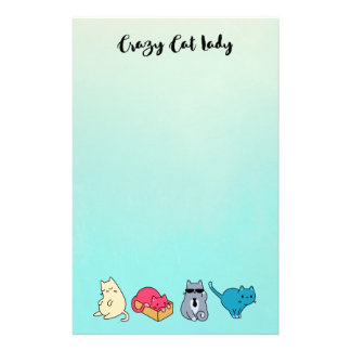 Crazy Cat Lady and 4 Cute Cats Stationery