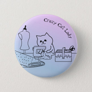 Crazy Cat Lady Badge Button