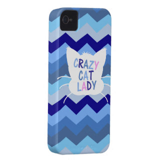 Crazy Cat Lady - Blue Chevron Waves iPhone 4 Case-Mate Case