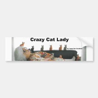 Crazy cat lady bumper sticker car bumper sticker
