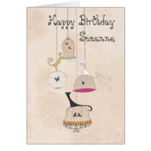 Crazy Cat Lady Cats n Birdcages birthday cards