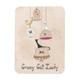 Crazy Cat Lady Cats n Birdcages Flexi Magnets