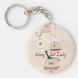 Crazy Cat Lady Cats n Birdcages keychains