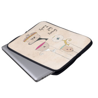 Crazy Cat Lady Cats n Birdcages laptop sleeve
