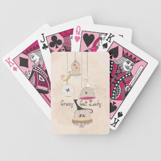 Crazy Cat Lady Cats n Birdcages playing cards