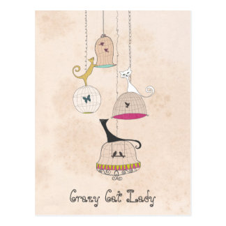 Crazy Cat Lady Cats n Birdcages Postcards