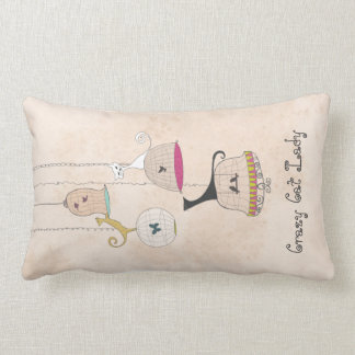 Crazy Cat Lady Cats n Birdcages throw pillows