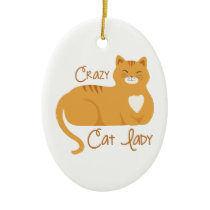 Crazy Cat Lady Ceramic Ornament