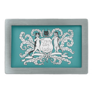 Crazy Cat lady Coat of Arms Belt Buckle