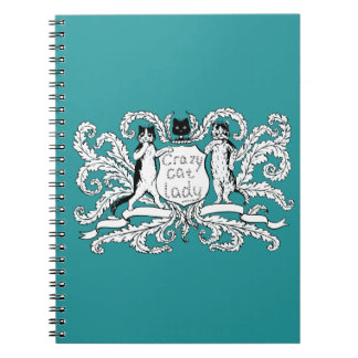 Crazy Cat lady Coat of Arms Note Books