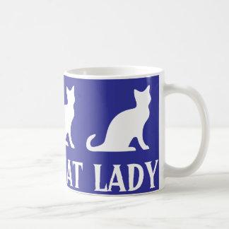 Crazy cat lady coffee mug design with white kitten
